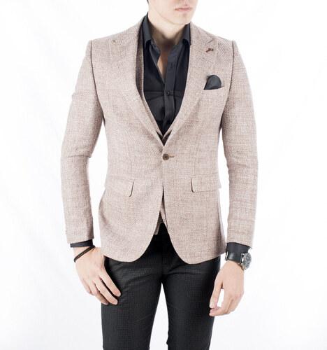 9d87c0cef88e9 DeepSEA Kahverengi Açık Örme Kumaş Çift Renkli Yeni Sezon Erkek Ceket-Yelek  Takım 1802001