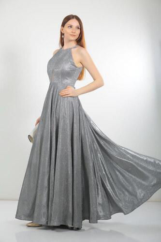 7c6eacadd1004 By Saygı Kadın Göğüs Tül Detaylı Simli Sırt Dekolteli Abiye Elbise Gri  S-18Y0490007