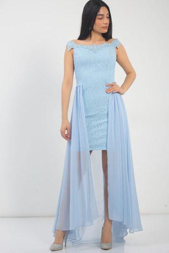 3406a07a42465 By Saygı Kadın Yaka Taşlı Dantel Önü Kısa Arkası Uzun Tül Abiye Elbise Bebe  Mavi S