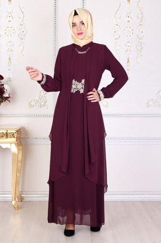 d8a4a57f58482 Feiza Collection Beli Dantel Detaylı Mürdüm Tesettür Abiye Elbise ...