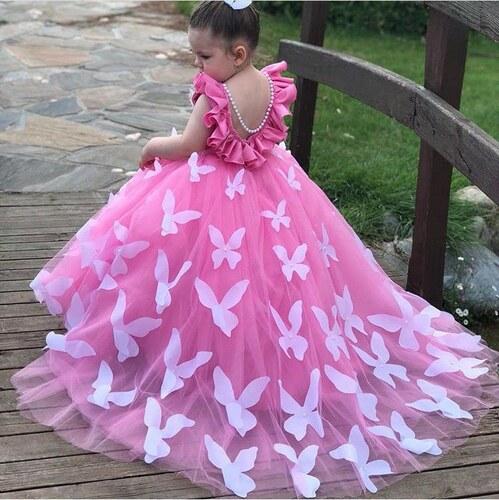 241c289d856b1 Özel Üretim Kız Çocuk Gelinlik Pembe Kelebek Detaylı Prenses Elbise El  İşçiği