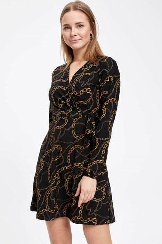 bafd40842c402 DeFacto Kadın Zincir Desenli Uzun Kollu Elbise Siyah - Glami.com.tr