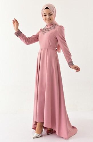 bbe8178cc761d Sefamerve İncili Kuşaklı Elbise 8902-05 Gül Kurusu - 38 - Glami.com.tr