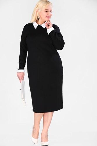 13a8c1db614ad Patırtı Gömlek Yaka Siyah Büyük Beden Elbise - Glami.com.tr