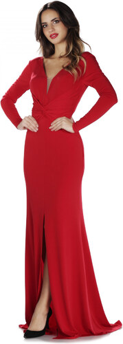 919ff19c3ec21 Pierre Cardin Kadın Kırmızı İthal Krep Uzun Kollu Abiye Elbise PC55280