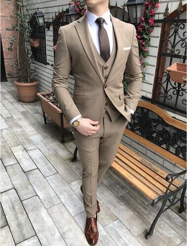 848589d8e4c2c terzi_ademaltun İtalyan stil slim fit ceket yelek pantolon bej takım elbise  T3148