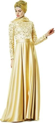 9d09b00a649f9 Fashion Night Abiye Elbise-Gold 2145-93 - Glami.com.tr