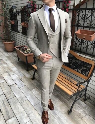 e261231efd043 terzi_ademaltun İtalyan stil slim fit ceket yelek pantolon bej takım elbise  T3165
