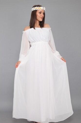 014d8fc633c14 Moda Labio - Dökümlü Elbise Beyaz - Glami.com.tr