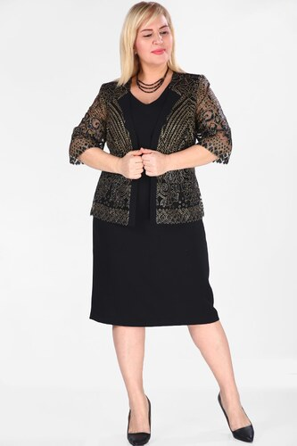 0955d5052e5f7 Patırtı Ceketi Pul Siyah İşlemeli Büyük Beden Elbise - Glami.com.tr