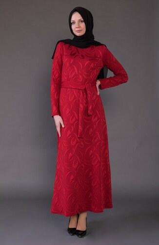 65129c2cc85d6 Sefamerve Jakarlı Kuşaklı Elbise 1123-03 Kırmızı - 38 - Glami.com.tr