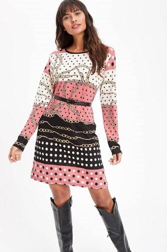 4ba20d550c9ef DeFacto Kadın Zincir Desenli Örme Krep Elbise Tunik Pembe - Glami.com.tr