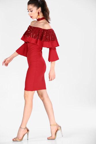 81c113d29a172 Patırtı Kolları Volanlı Kırmızı Kadın Elbise - Glami.com.tr