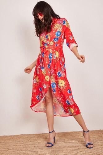 8e41dd0263c91 Patırtı Kadın Kırmızı Kuşaklı Desenli Gömlek Elbise - Glami.com.tr