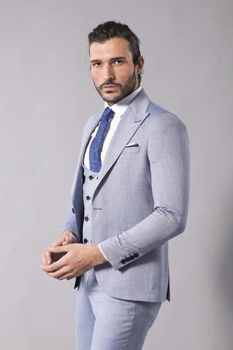 ae96f1cd0e766 Sivri Yaka Yelekli Desenli Mavi Takım Elbise | Wessi - Glami.com.tr