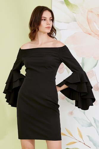 848170daf471a Journey Kadın Siyah Kolları Volanlı Elbise 19YELB485 - Glami.com.tr