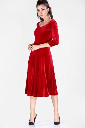 33aecb317e4d0 Patırtı Kadın Kadife Kırmızı Kısa Elbise - Glami.com.tr