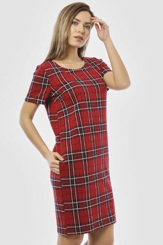 c4d200ff8c802 Bianco Lucci Kadın Kırmızı Ekose Desen Sırtı Fermuarlı Cepli Elbise 2418108