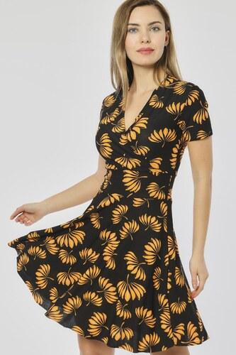 552d7c03a28ba Bianco Lucci Kadın Sarı Çiçekler Desen Siyah Kruvaze Yaka Elbise 2441060