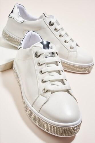 8f81c63a8a344 Bambi Beyaz Gümüş Kadın Sneaker H06747020 - Glami.com.tr