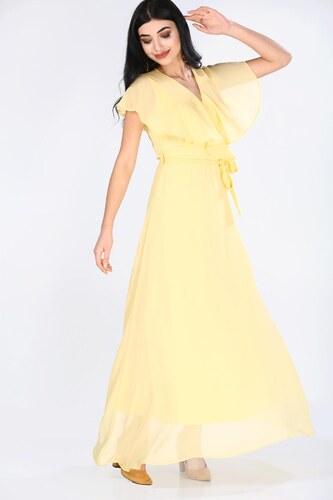 d6f3d50d0f5c5 Patırtı Şifon Sarı Kadın Uzun Elbise - Glami.com.tr