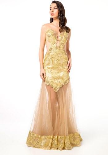 346010a198d17 Abiye Sarayı Kadın Gold Abiye Elbise WM102365 - Glami.com.tr