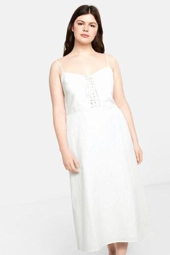 44cd890e0379c Violeta by MANGO Kadın Beyaz Dekoratif Askılı Elbise 43019058 ...
