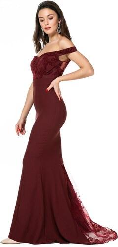 150634515070e Sateen Kadın Sırt Detaylı Bordo Balık Abiye Elbise 9KEL522K138 ...