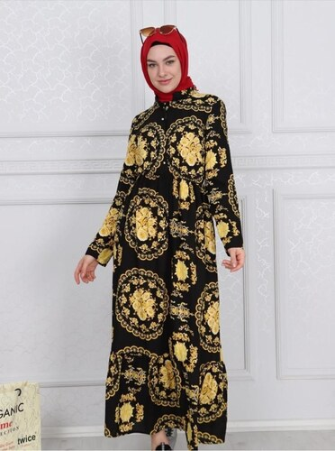 5d177a8020c41 Patırtı Elbise 6526-3 Siyah - Glami.com.tr