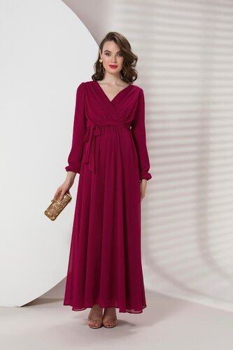 921e91c5a680a Patırtı Gör&Sin Babyshower Hamile Uzun Kollu Şifon Elbise Violet ...