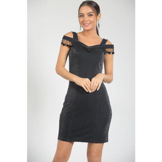 f5a80898c5b68 By Saygı Kadın Siyah Yaka Boncuk Ve Pullu Simli Astarlı Likra Abiye Elbise  S-18Y1230003 - Glami.com.tr