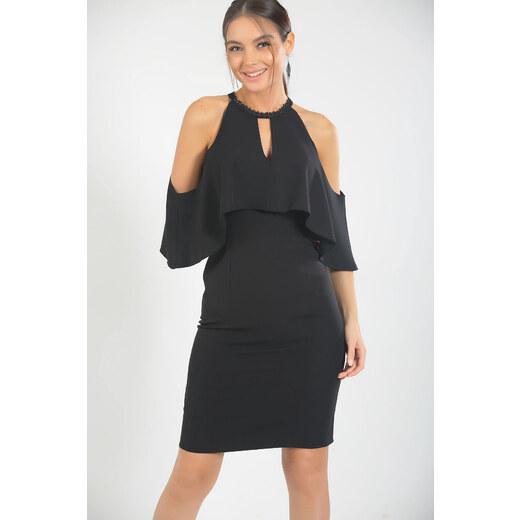 47317d08be84b Size Özel Saygı Kadın Siyah Volanlı Yaka Hazır Dantel Abiye Elbise  S-18Y0130005 - Glami.com.tr