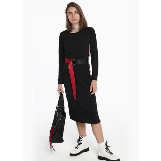 a8661c5efd189 Twist Kadın Yan Yırtmacı Grogren Geçişli Kemerli Elbise Siyah - Glami.com.tr