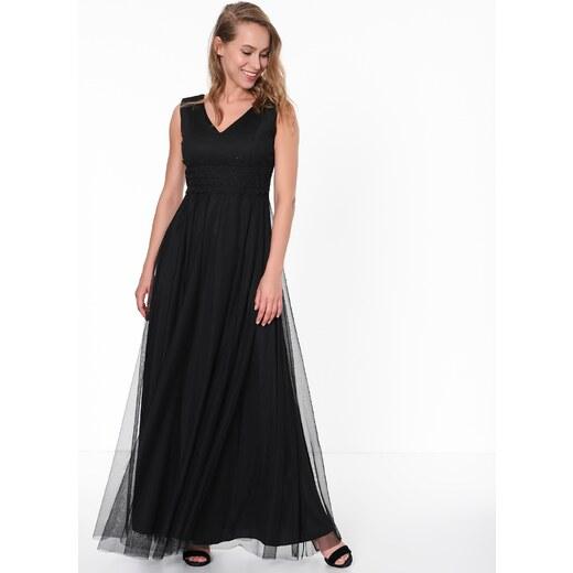 c04a89f734de9 İroni Kadın Güpürlü Uzun Tül Abiye Elbise Siyah - Glami.com.tr