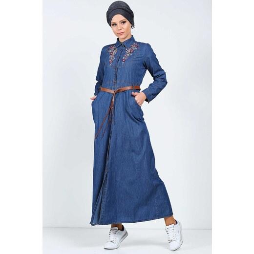 90e29e2969c8e Patırtı Deri Kemerli Tesettür Kot Koyu Mavi Elbise - Glami.com.tr