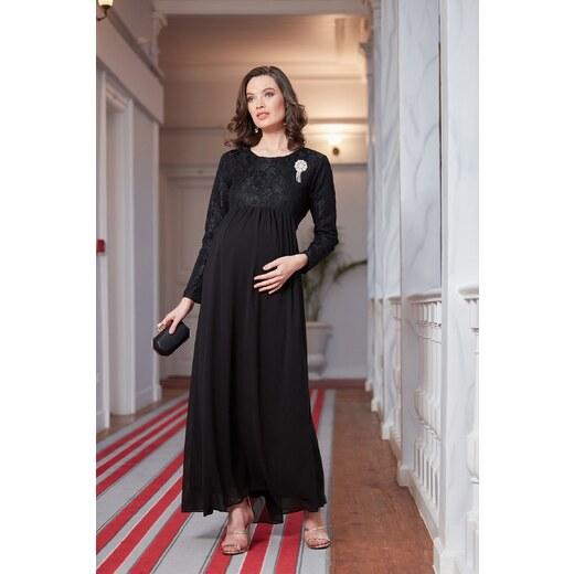 839512db617bf Patırtı Gör&Sin Babyshower Hamile Şifon Dantel Elbise Siyah - Glami.com.tr