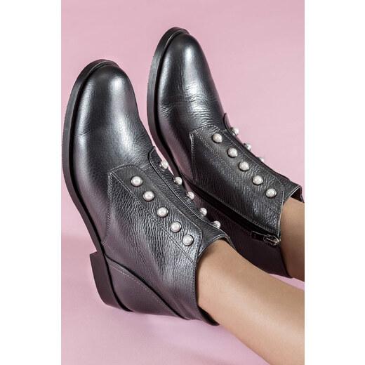 5159b7f306fff Elle Shoes Hakiki Deri Kurşun Rengi Kadın Bot - Glami.com.tr