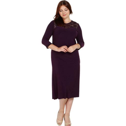 944e42800298f Nidya Moda Kadın Mürdüm Dantel Roba Abiye Elbise 4078DM - Glami.com.tr