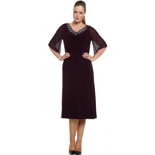 cb122e8dff6b7 Nidya Moda Kadın Mürdüm Şifon Kol Taşlı Abiye Elbise 4053M - Glami.com.tr
