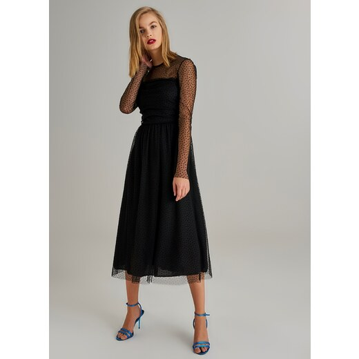 071fb5143f20a Monamoda Kadın Puantiyeli Tül Elbise Siyah - Glami.com.tr
