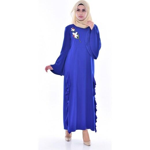 702bf04e5ce92 Sefamerve İncili Fırfırlı Elbise 1364-03 Saks - 38 - Glami.com.tr