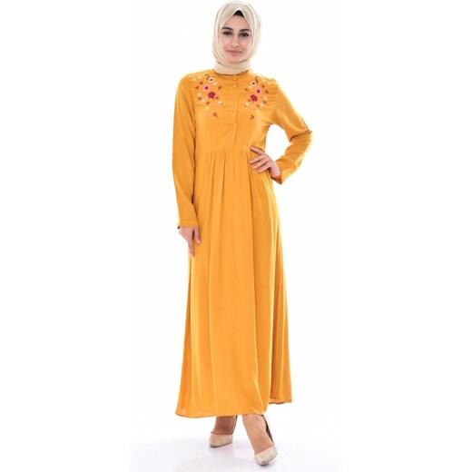 d1ce49a50f0e4 Sefamerve Nakışlı Elbise 80135-02 Hardal - 36 - Glami.com.tr