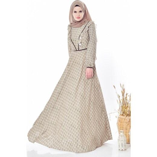 91ba6c611952a Sefamerve Desenli Fırfırlı Elbise 28308-03 Fıstık Yeşili - 36 - Glami.com.tr