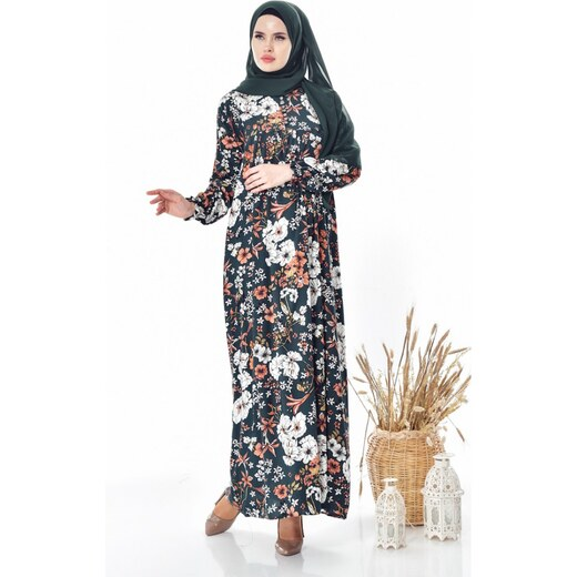 f92e0e6e4eb16 Sefamerve Çiçek Desenli Elbise 4005B-02 Koyu Yeşil - 42 - Glami.com.tr
