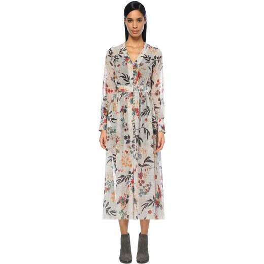 23927aebbd957 Beymen Club Kadın V Yaka Puanlı Çiçekli Önü Düğmeli Midi Elbise Beyaz -  Glami.com.tr