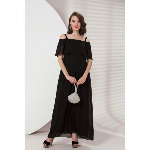 36bbd56a213fb Patırtı Gör&Sin Hamile Askılı Şifon Uzun Elbise Siyah - Glami.com.tr