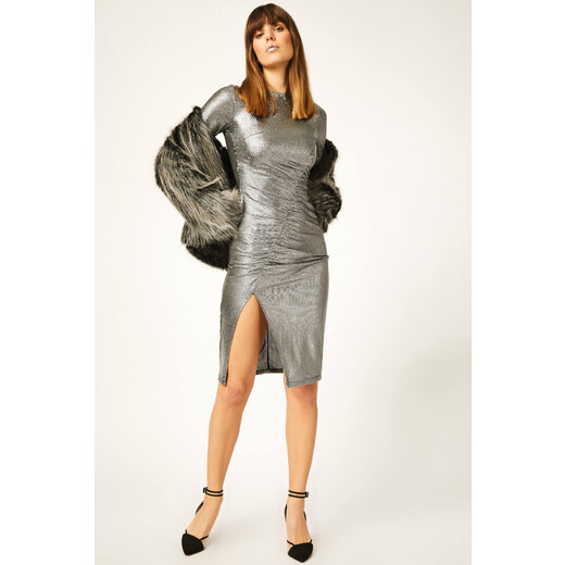 b897a5596c362 Kadın Gümüş V Yaka Yırtmaçlı Parlak Elbise 9178 HC00042 - Glami.com.tr