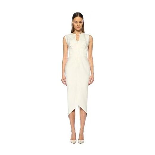fca36982136b5 Museum of Fine Clothing Kadın Beyaz İşlemeli Asimetrik Kesim Midi Abiye  Elbise 38 EU - Glami.com.tr