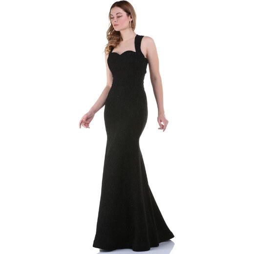 3b3a20f72fdf5 By Saygı Kadın Siyah Arkası Çapraz Simli Uzun Krep Abiye Elbise  S-17Y0500004 - Glami.com.tr