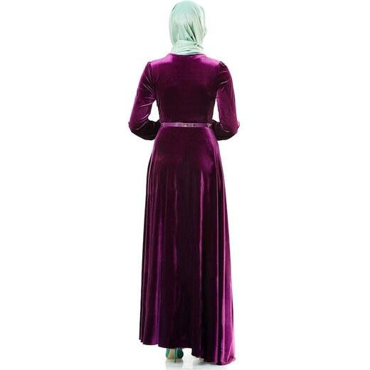 645b985efa556 E-Tesettür Nassah Kadife Taşlı Kemerli Elbise-Mürdüm LR8281-51 -  Glami.com.tr
